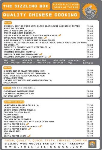 2013 Sizzling Wok Bar Menu